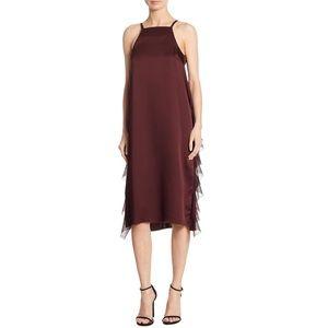 Elizabeth & James Burgundy Loma Ruffle Midi Dress